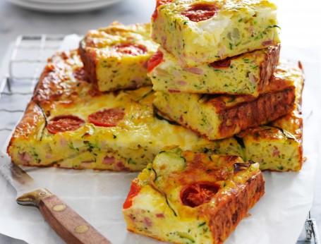 Classic bacon and zucchini slice recipe