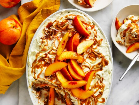Nectarine and salted caramel tiramisu recipe