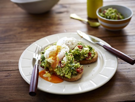 Poached Eggs with Avocado Feta Smash