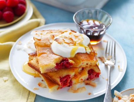 Tray bake pancake with mango, raspberries and coconut