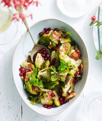 Lilydale roasted Brussels sprouts, crispy pancetta and pomegranate seeds