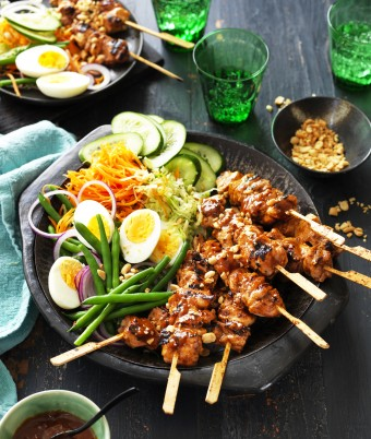 Chicken Satay Skewers with homemade Gado Gado salad