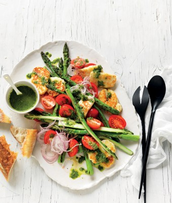 Make this summer asparagus salad recipe with haloumi for your next barbecue. The green herb dressing can be used on other salad recipes.