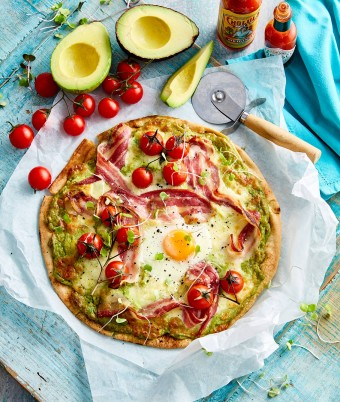 Breakfast pizza with egg