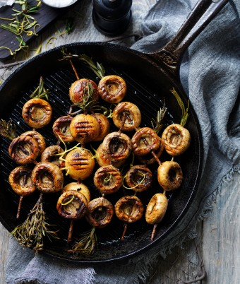 BBQ Mushroom Skewers with Rosemary Gremolata