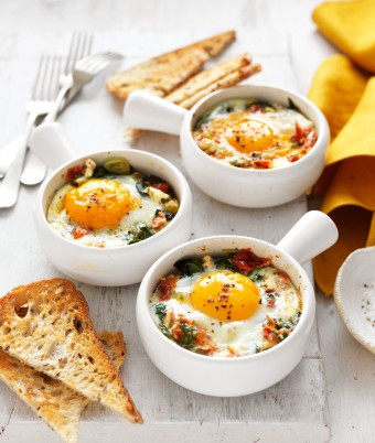 This vegetarian Baked Eggs recipe with tomato and feta makes a great keto breakfast or dinner.