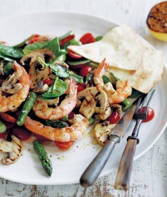 Barbecued Mushroom Asparagus and Prawn Salad