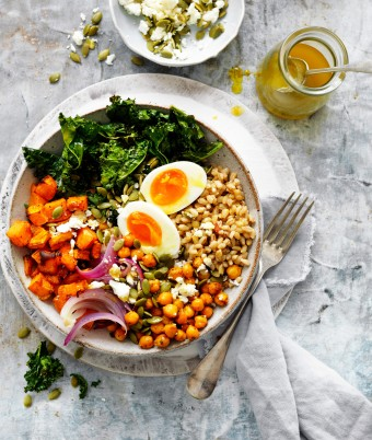 Barley bowl with soft boiled egg