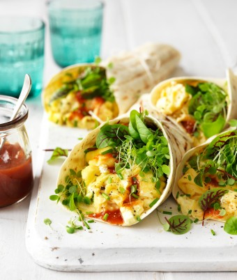 Try these vegetarian breakfast tacos for a healthy breakfast recipe option. The best scrambled eggs recipe is served in a soft shell taco with feta and fresh herbs to make this healthy breakfast taco.