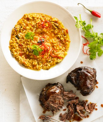 Beef Cheek Risotto with Persian Eggplant Relish