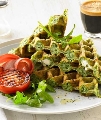 Danish Feta and Spinach Waffle
