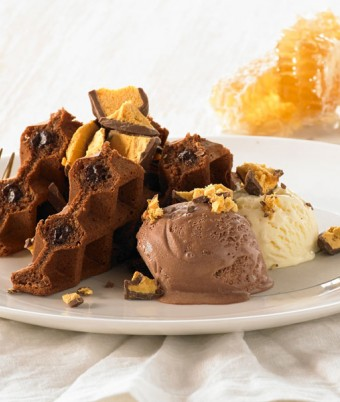 Dark Chocolate and Honeycomb Waffle