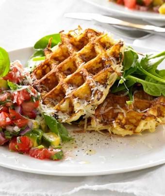 Potato Rosti with Tomato Salsa Waffle