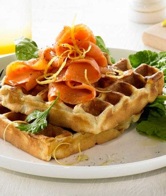 Smoked Salmon, Dill and Caper Cream Waffle