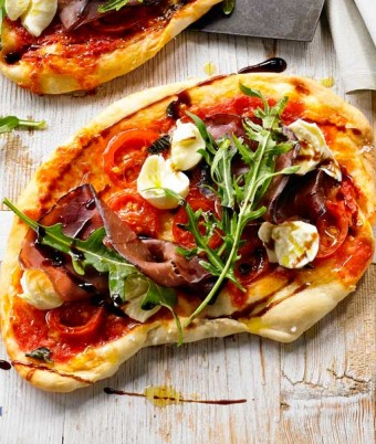 Bresaola & Burrata Pizza made using the Breville crispy crust pizza oven