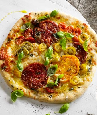 Spelt Pizza with Roasted Tomatoes & Mozzarella