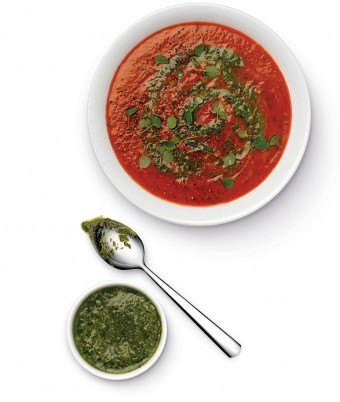 Roasted Tomato and Capsicum Soup with Salsa Verde made with the Breville Boss Blender