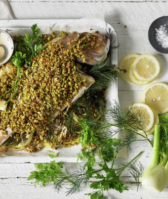 Baked Snapper with Fennel and Pistachio Crust