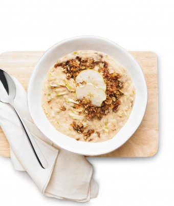 Date and Apple Oatmeal with Coconut Granola Topping