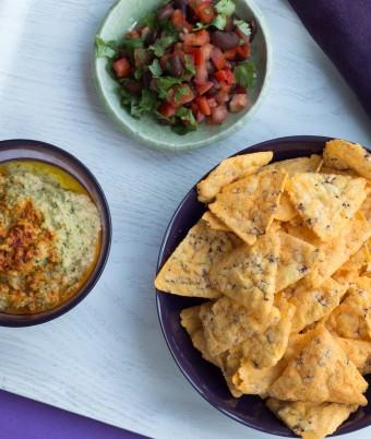 Coriander Hummus with Corn Chips