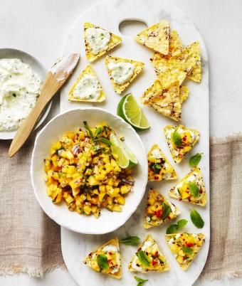 Corn Chip Bruschetta with Mangoes and Herb Ricotta