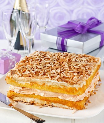 Luscious White Chocolate Custard Meringue Layered Torte
