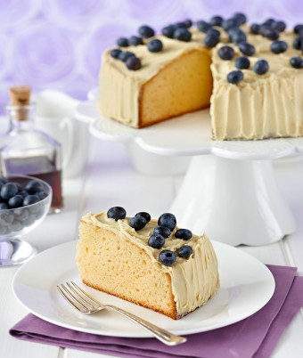 Rich White Chocolate Cake with Chocolate Maple Ganache and Blueberries