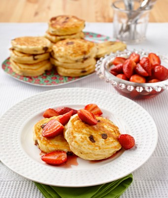 Ricotta Chocolate Chip Hotcakes with Maple Strawberries