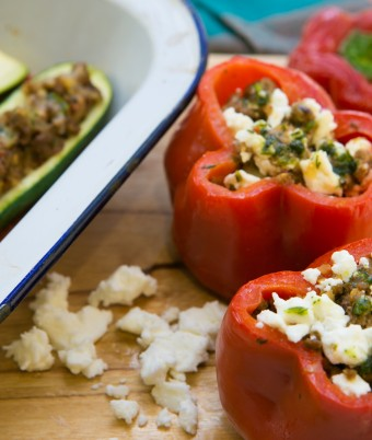 Capsicum and Zucchini Stuffed with Lamb and Herbs Recipe Idea from Gourmet Garden