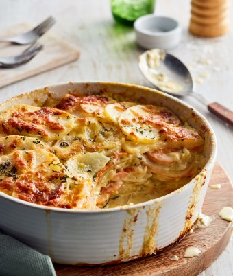 Cheesy Sweet Potato, Potato and Sage Gratin