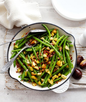 Fast Chestnut and Bacon Green Beans Recipe