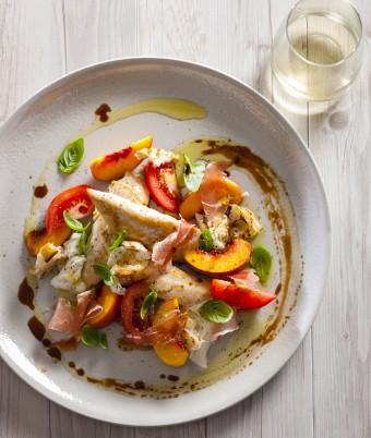 Chicken Tenderloin with Prosciutto, Truss Tomatoes And Peach Salad