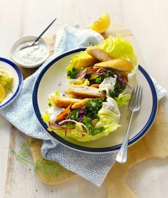 Chicken schnitzel and coleslaw