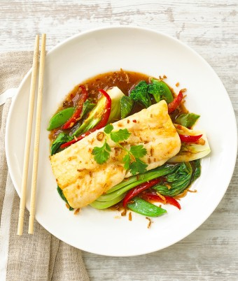 Pan Fried Hoki with Asian Greens and Sweet Chilli Jam