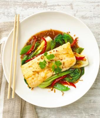 Pan Fried Hoki with Asian Greens and Sweet Chilli Jam