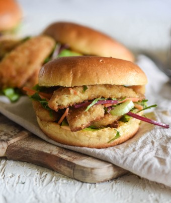 Crumbed fish burger with mayonnaise