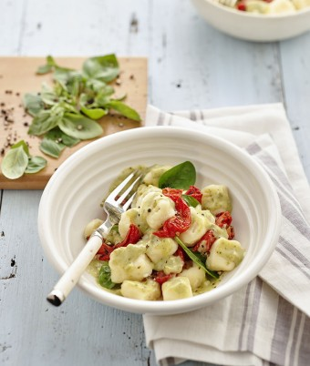 Gnocchi with Creamy Three Cheese and Pesto Sauce