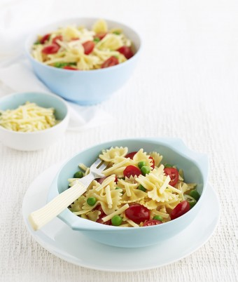 Pasta Bows with Peas and Cherry Tomatoes