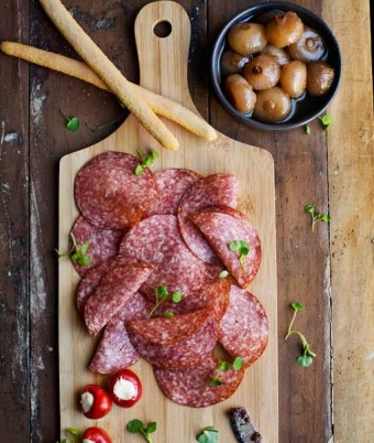 Salami and Sweet Peppers with Balsamic Onions and Olive Tapenade