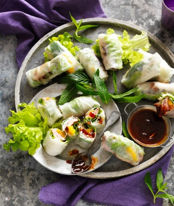 Make these mini Vietnamese rice paper rolls with hoisin dipping sauce
