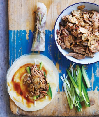 Mushroom & Duck Pancakes dinner party recipe idea