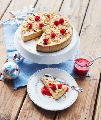 Baked Coconut and Raspberry Cheesecake