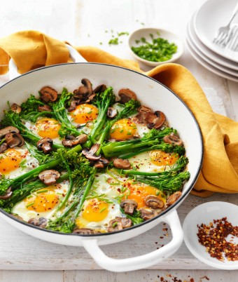 One-pan eggs with herbed mushrooms and broccolini vegetarian recipe