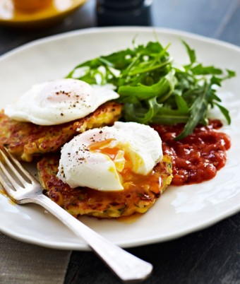Cheesy Corn and Zucchini Fritters Poached Eggs and Tomato Relish