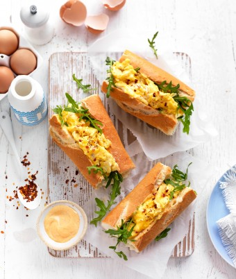 Spicy Scrambled Egg and Rocket Breakfast Rolls