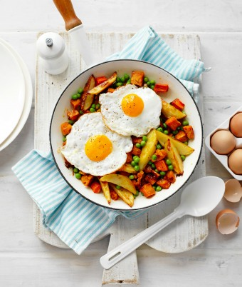 Cheat's Bubble and Squeak with Fried Eggs