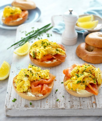 Scrambled Egg, Smoked Salmon and Cream Cheese Bagels
