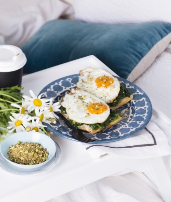 Fried Eggs with Pistachio Dukkah