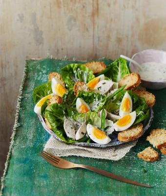 Egg and Chicken Caesar Salad