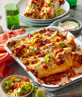 Chicken enchiladas with rice inside